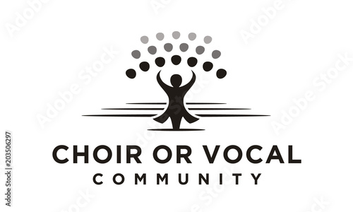 Fototapeta Classical Choir Chorus Vocal group perform led by a conductor, Christian Church Music Gospel logo design obraz