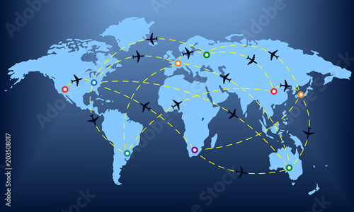 Plane routes over world map with markers or map pointers travel by plane routes over world map with markers or map pointers travel by airplane concept gumiabroncs Image collections