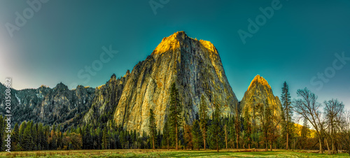 Fond de hotte en verre imprimé Bleu vert Yosemite