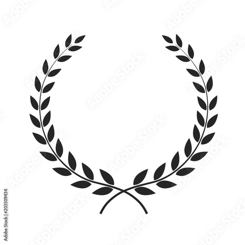 Laurel wreath vector illustration placed on white. Canvas Print