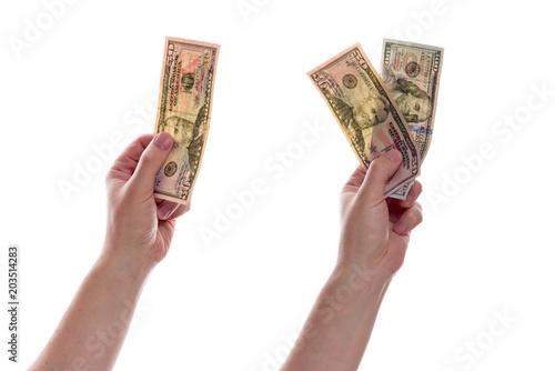 Two Male Hands Holding One Banknote One Hundred Dollars And A Bill