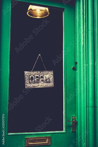Open Sign in Mysterious Old Shop Canvas Print