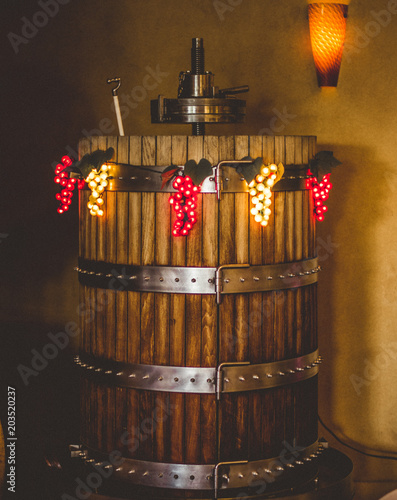 Fotografie, Obraz  Decorated Barrel with Light Up Grape Decorations