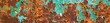 canvas print picture - Banner of Old green paint on the metal and drips of rust. grunge vintage texture for background
