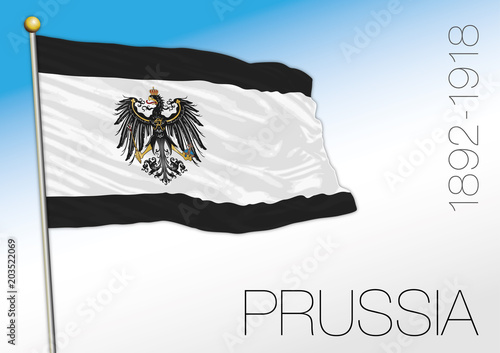 Fotografía  Prussia historical flag and coat of arms, Germany