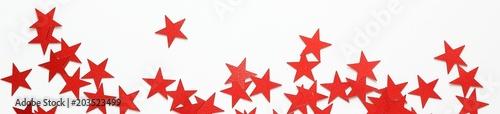 Obraz Banner of Red stars confetti - fototapety do salonu