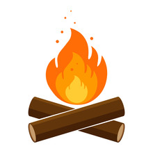 Simple, Flat Campfire Icon. Is...