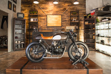 Cafe Racer Motorbike Parked In...