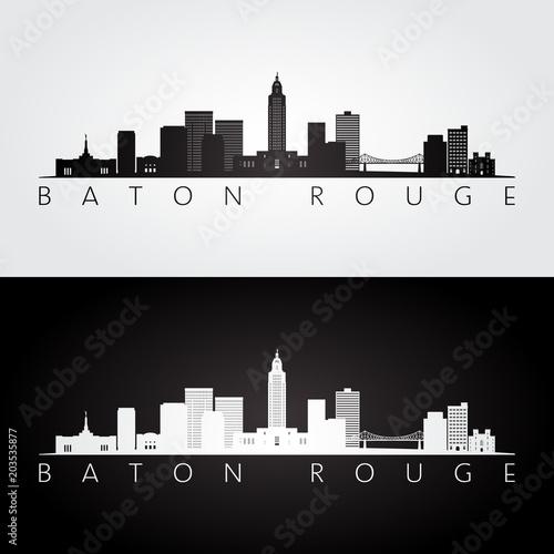 Canvastavla Baton Rouge USA skyline and landmarks silhouette, black and white design, vector illustration