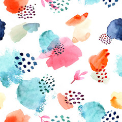 Fototapeta Malarstwo Watercolor seamless pattern, dot memphis fashion style, bright design repeating background. Hand painted modern brush shapes.