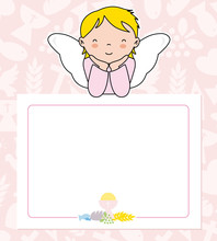 Communion Card. Angel Girl Wit...