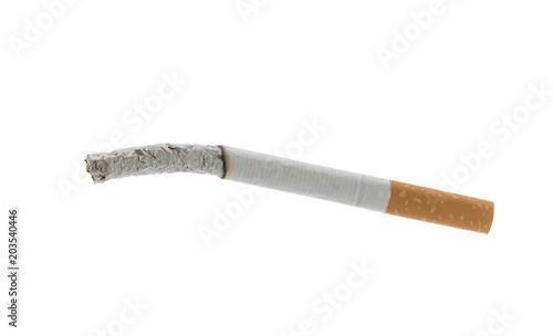Fotografie, Obraz Smoked cigarette isolated on white background.