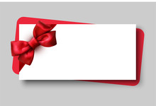 White Gift Card With Red Beautiful Satin Bow.