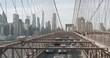 Scenic view of Manhattan skyline from Brooklyn Bridge