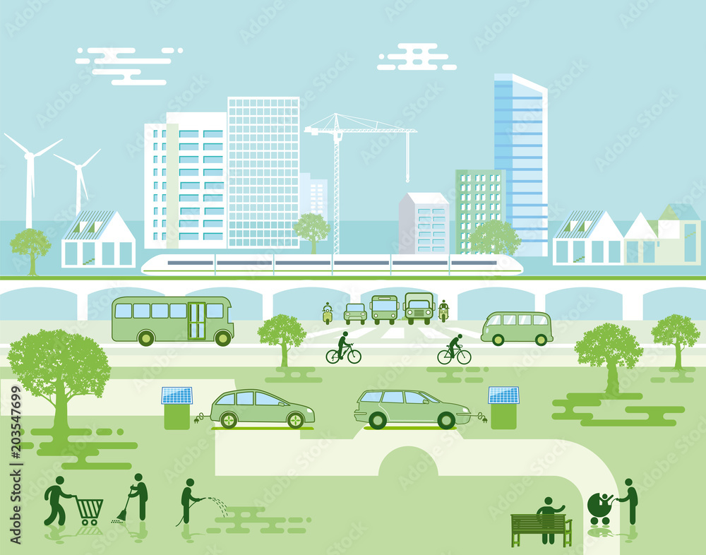 Fototapeta Ökologische Stadt mit Elektro-Fahrzeugen