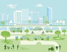 Ökologische Stadt Mit Elektro-Fahrzeugen