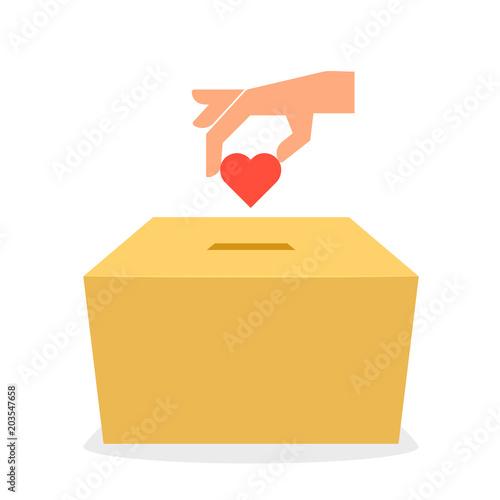 Fényképezés Cardboard donation box icon
