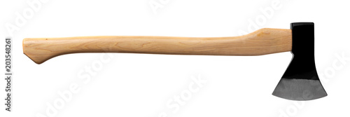 black ax with wooden handle isolated on white Canvas Print