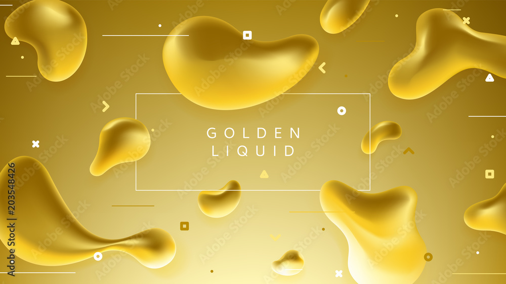 Fototapety, obrazy: Colorful banner with abstract golden liquid shapes. Trendy vector illustration with geometric symbols. Futuristic composition with fluid shapes.