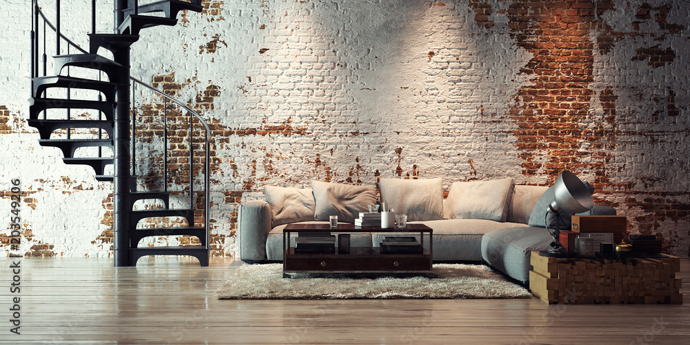 Fototapety, obrazy: sofa in old vintage brick wall loft - apartment in alten Ziegel Loft