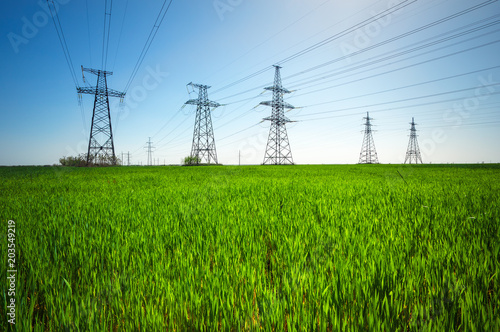 Fotografiet  High voltage lines and power pylons in a green agricultural landscape with blue sky on a sunny day