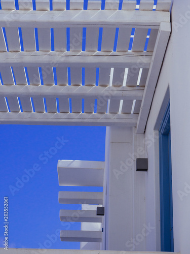 Detail of a white wooden pergola in Amorgos Canvas Print