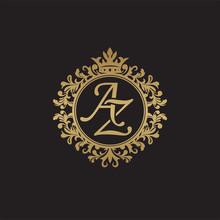 Initial Letter AZ, Overlapping Monogram Logo, Decorative Ornament Badge, Elegant Luxury Golden Color