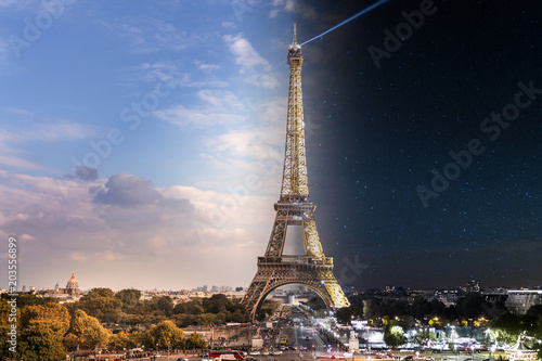 Eiffel Tower Day and Night transition