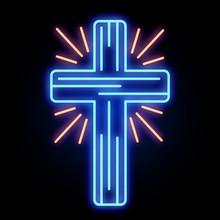 Neon Church Cross Light Sign