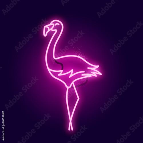 Świecący różowy neon flamingo znak