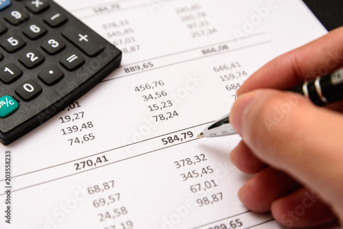 Accounting equipment in use. Important work material in many professions.