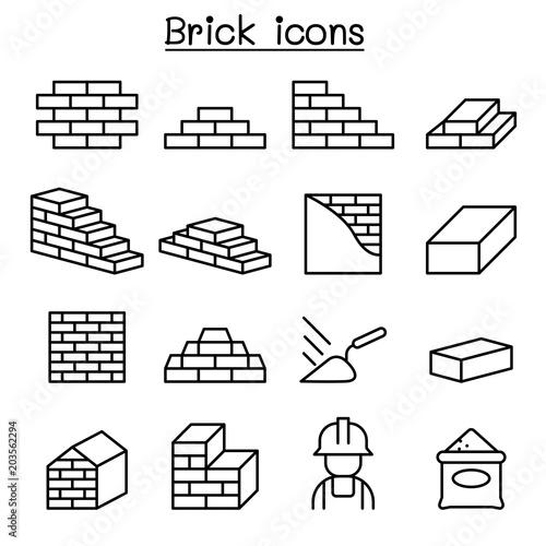 Fotografía  Brick icon set in thin line style