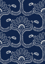 Seamless Indigo Dye Woodblock Printed Paisley Damask Pattern. Traditional Oriental Ornament Of India, With Dotted Flowers And Vines, Ecru On Navy Blue Background. Textile Design.