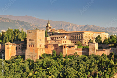 Spain Andalusia Granada View from Patio de la Acequia to Alhambra Overall view of Alcazaba City castle on the hill Sabikah Wallpaper Mural