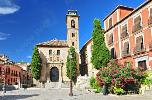 Photo Church of Santa Ana in Plaza Nueva, Granada, Andalusia, Spain.