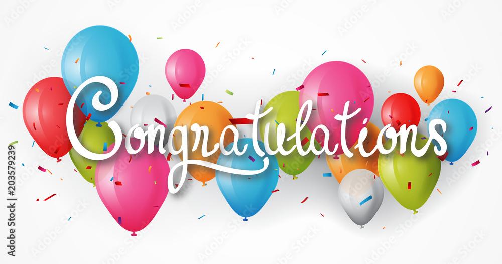 Valokuva  Congratulations banner with balloon
