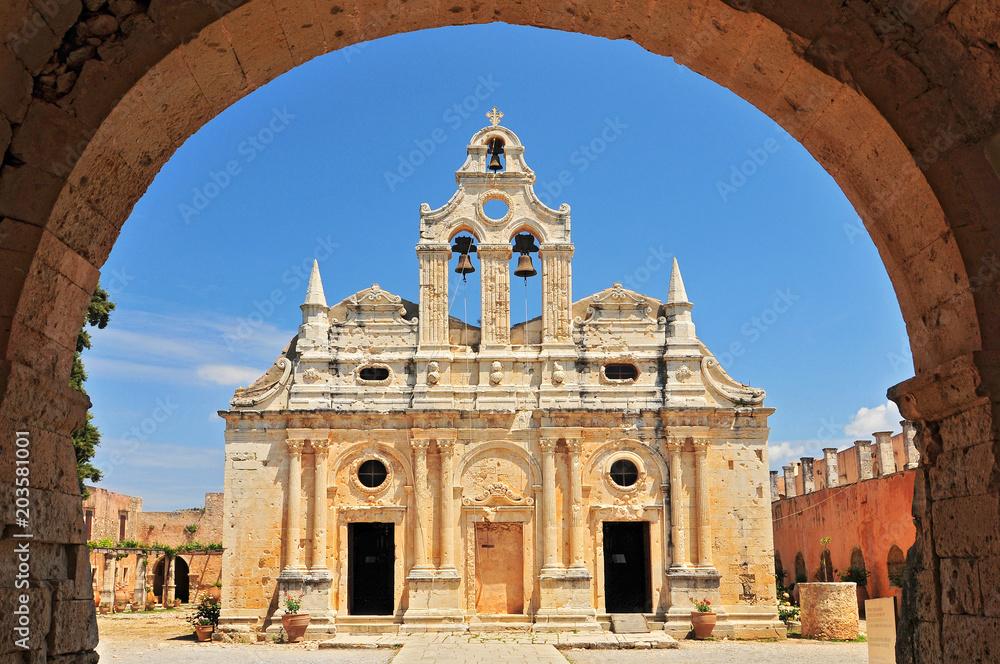 Fototapety, obrazy: The main church of Arkadi Monastery, symbol of the struggle of Cretans against the Ottoman Empire, Rethymno, Crete, Greece.
