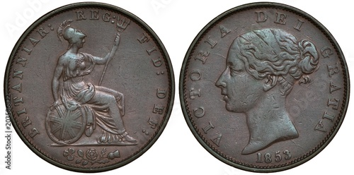 Fotografie, Obraz Great Britain British coin 1/2 half penny 1853, seated Britannia holding trident