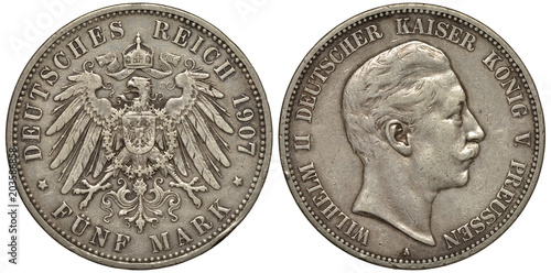 Fotografija  Germany German Prussia Prussian silver coin 5 five mark 1907, crowned imperial e