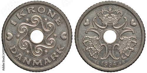 Fotografia  Denmark Danish coin 1 one krone 1994, central hole surrounded by wavy pattern, t