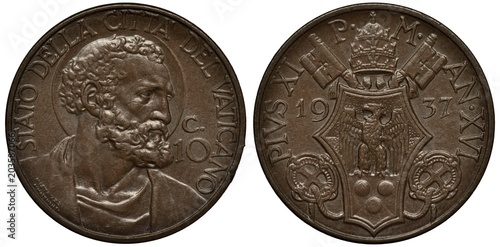 Fotografie, Obraz  Vatican City coin 10 ten centesimi 1937, Saint Peter's head right, papal arms, e