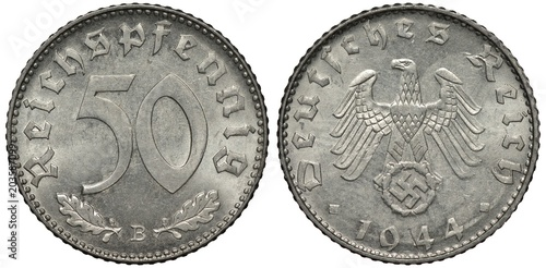 Fotografia  Germany German aluminum coin 50 fifty pfennig 1944, last but one year of Nazi re