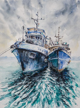 Two Fishing Boats Before A Sto...