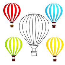 Set Of Colorful Hot Air Balloons Isolated On White Background Vector