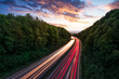 canvas print picture - Autobahn mit Autospuren