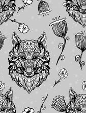 Wolf Vintage Style Gothic Seam...