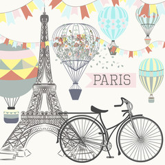 NaklejkaFashion poster with Eifel tower, bicycle and air balloons