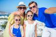 Family having fun outdoors on Mykonos island