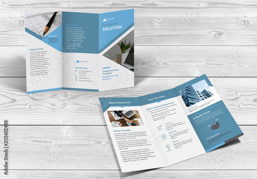 trifold brochure layout with blue accents buy this stock template