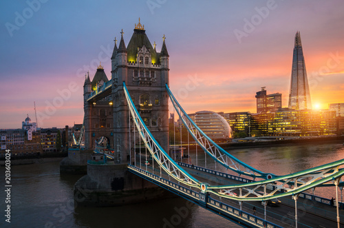 Poster London The london Tower bridge at sunset